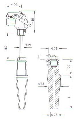 高温高压热电偶(热电阻)产品结构图