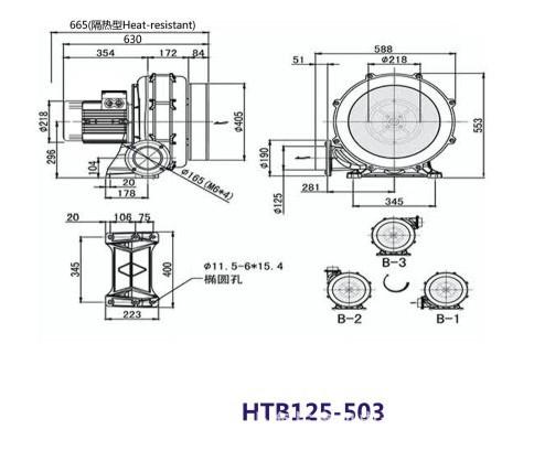 HTB125-503高性能透浦多段式鼓风机 4KW 中压鼓风机示例图4